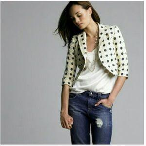 J. CREW jacquard cropped jacket dots & stripes